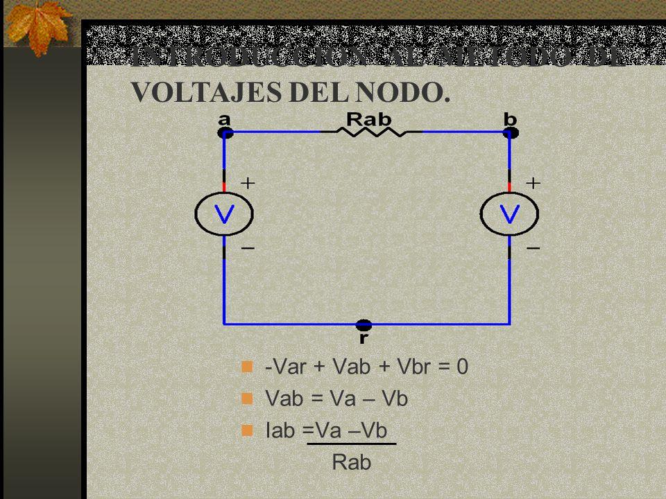 INTRODUCCION AL METODO DE VOLTAJES DEL NODO. -Var + Vab + Vbr = 0 Vab = Va – Vb Iab =Va –Vb Rab