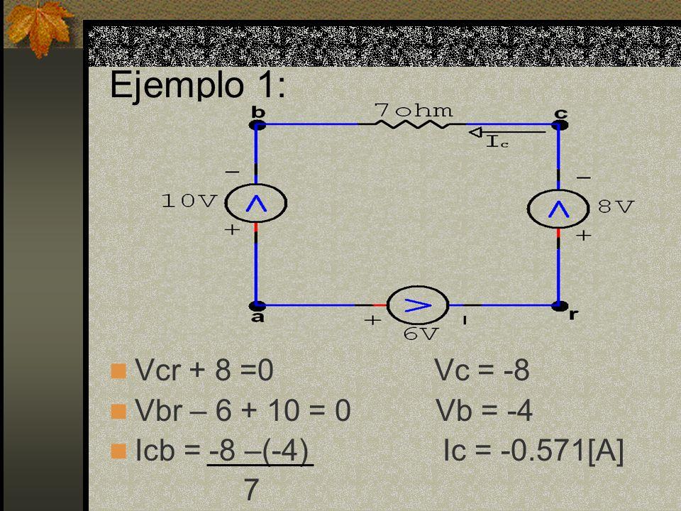 Ejemplo 1: Vcr + 8 =0 Vc = -8 Vbr – 6 + 10 = 0 Vb = -4 Icb = -8 –(-4) Ic = -0.571[A] 7