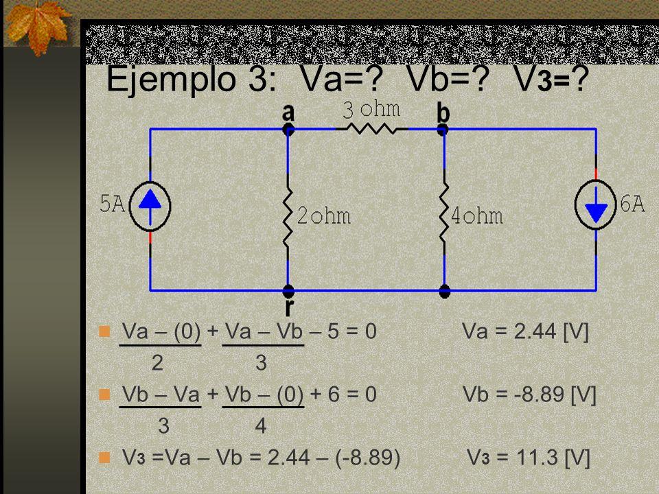 Va – (0) + Va – Vb – 5 = 0 Va = 2.44 [V] 2 3 Vb – Va + Vb – (0) + 6 = 0 Vb = -8.89 [V] 3 4 V 3 =Va – Vb = 2.44 – (-8.89) V 3 = 11.3 [V]