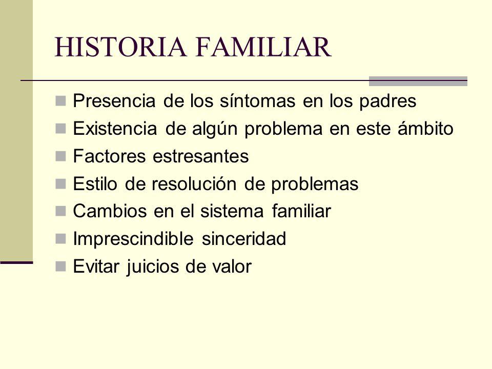 HISTORIA FAMILIAR Presencia de los síntomas en los padres Existencia de algún problema en este ámbito Factores estresantes Estilo de resolución de pro