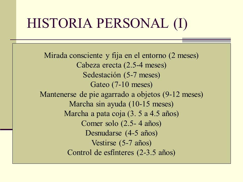 HISTORIA PERSONAL (I) Mirada consciente y fija en el entorno (2 meses) Cabeza erecta (2.5-4 meses) Sedestación (5-7 meses) Gateo (7-10 meses) Mantener