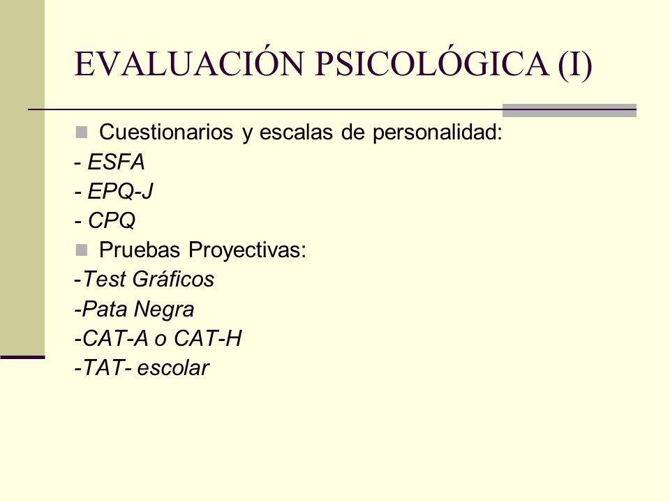 EVALUACIÓN PSICOLÓGICA (I) Cuestionarios y escalas de personalidad: - ESFA - EPQ-J - CPQ Pruebas Proyectivas: -Test Gráficos -Pata Negra -CAT-A o CAT-