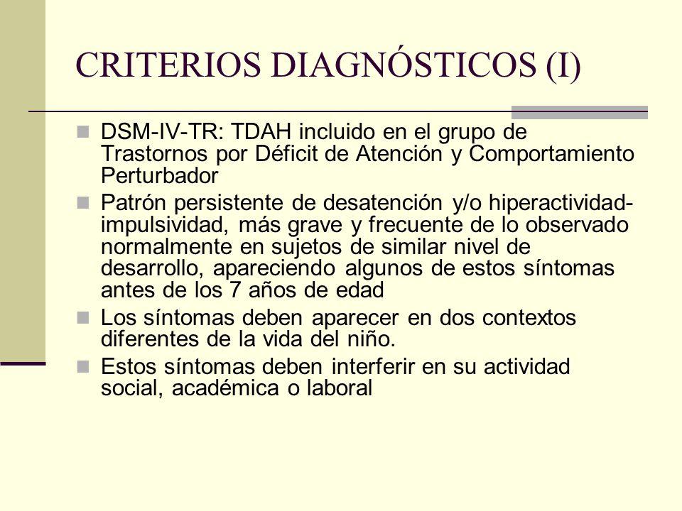 CRITERIOS DIAGNÓSTICOS (I) DSM-IV-TR: TDAH incluido en el grupo de Trastornos por Déficit de Atención y Comportamiento Perturbador Patrón persistente