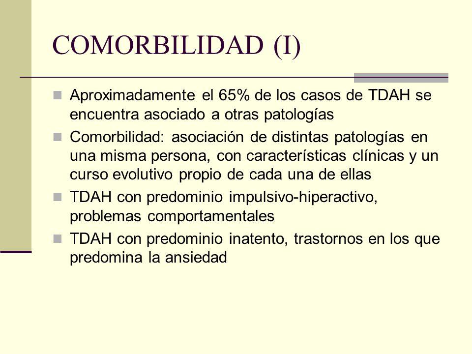 COMORBILIDAD (I) Aproximadamente el 65% de los casos de TDAH se encuentra asociado a otras patologías Comorbilidad: asociación de distintas patologías