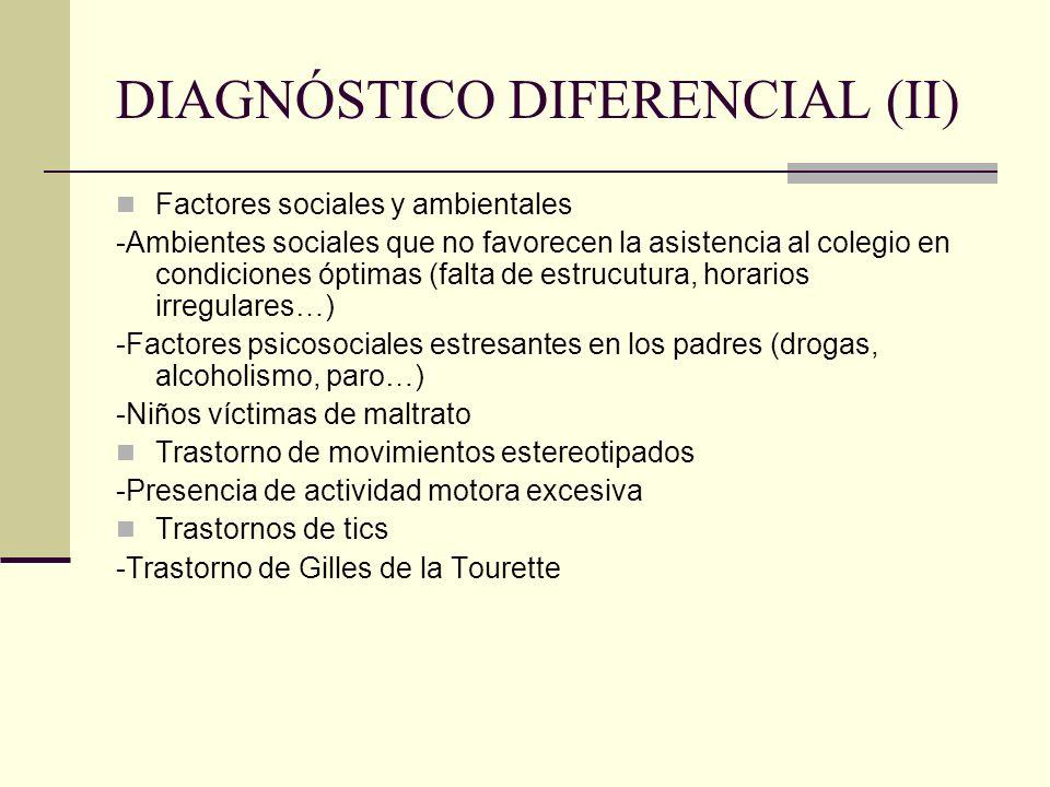 DIAGNÓSTICO DIFERENCIAL (II) Factores sociales y ambientales -Ambientes sociales que no favorecen la asistencia al colegio en condiciones óptimas (fal