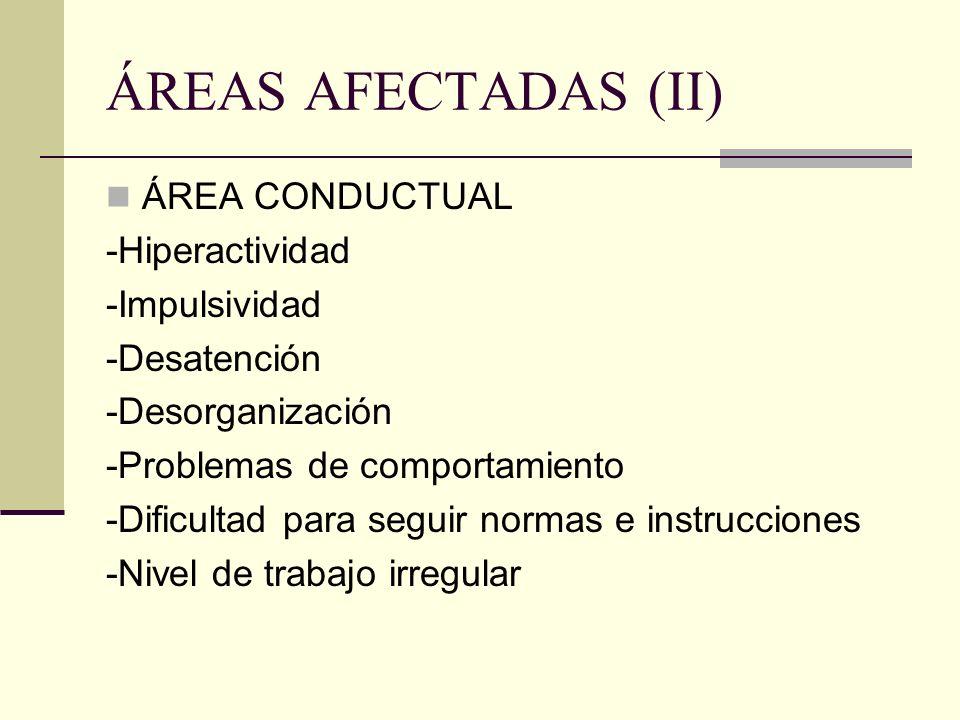 ÁREAS AFECTADAS (II) ÁREA CONDUCTUAL -Hiperactividad -Impulsividad -Desatención -Desorganización -Problemas de comportamiento -Dificultad para seguir