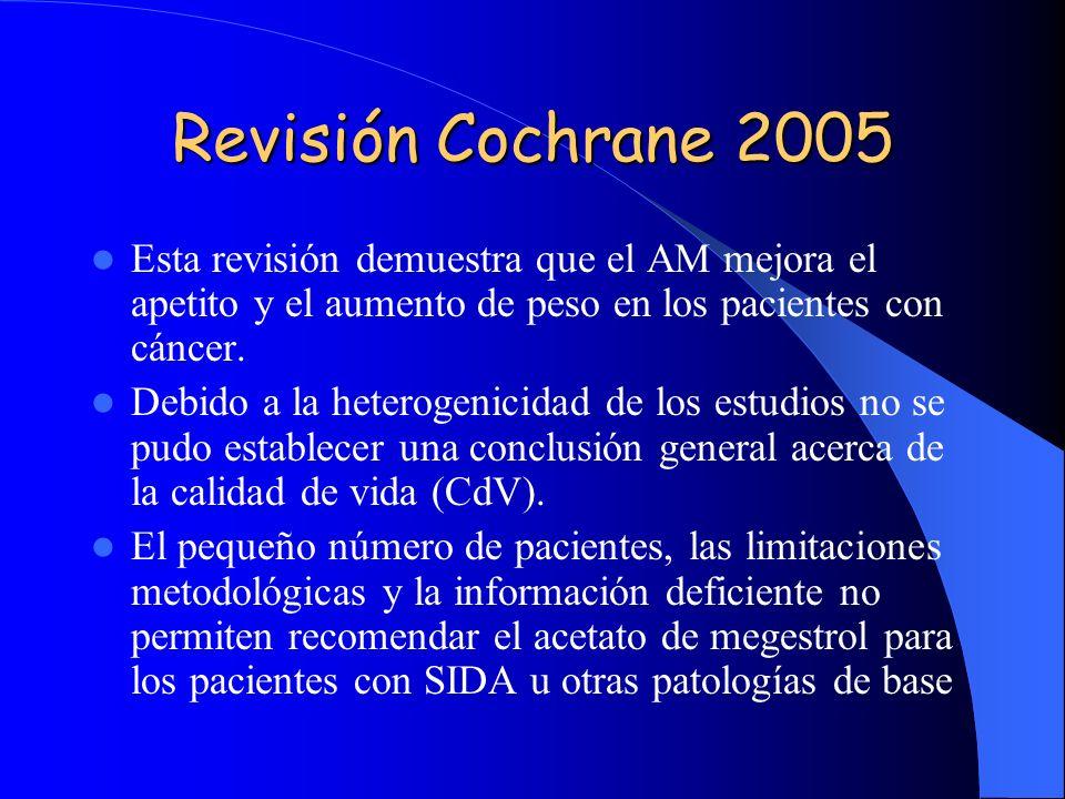 Revisión Cochrane 2005 Esta revisión demuestra que el AM mejora el apetito y el aumento de peso en los pacientes con cáncer.