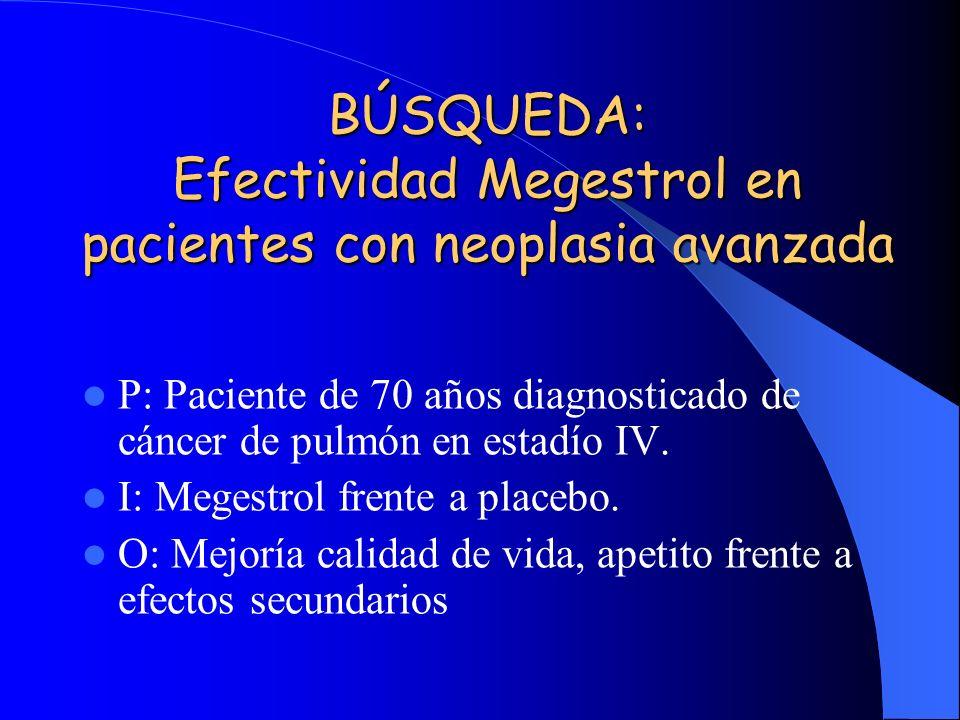 BÚSQUEDA: Efectividad Megestrol en pacientes con neoplasia avanzada P: Paciente de 70 años diagnosticado de cáncer de pulmón en estadío IV.
