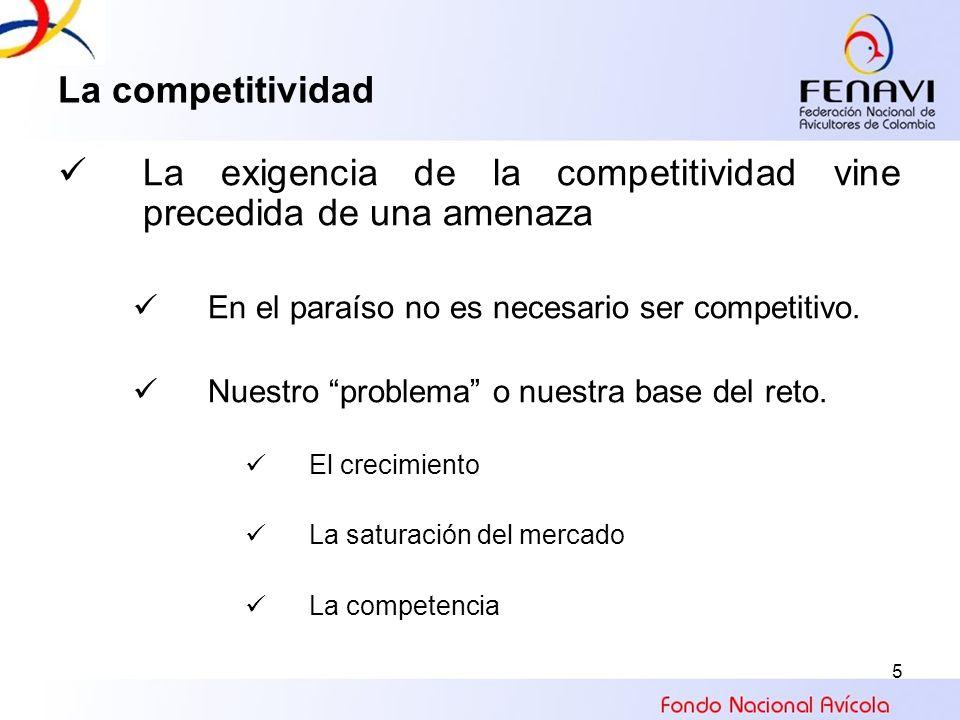 5 La competitividad La exigencia de la competitividad vine precedida de una amenaza En el paraíso no es necesario ser competitivo. Nuestro problema o