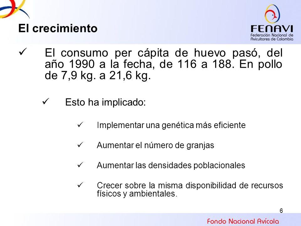 6 El crecimiento El consumo per cápita de huevo pasó, del año 1990 a la fecha, de 116 a 188. En pollo de 7,9 kg. a 21,6 kg. Esto ha implicado: Impleme