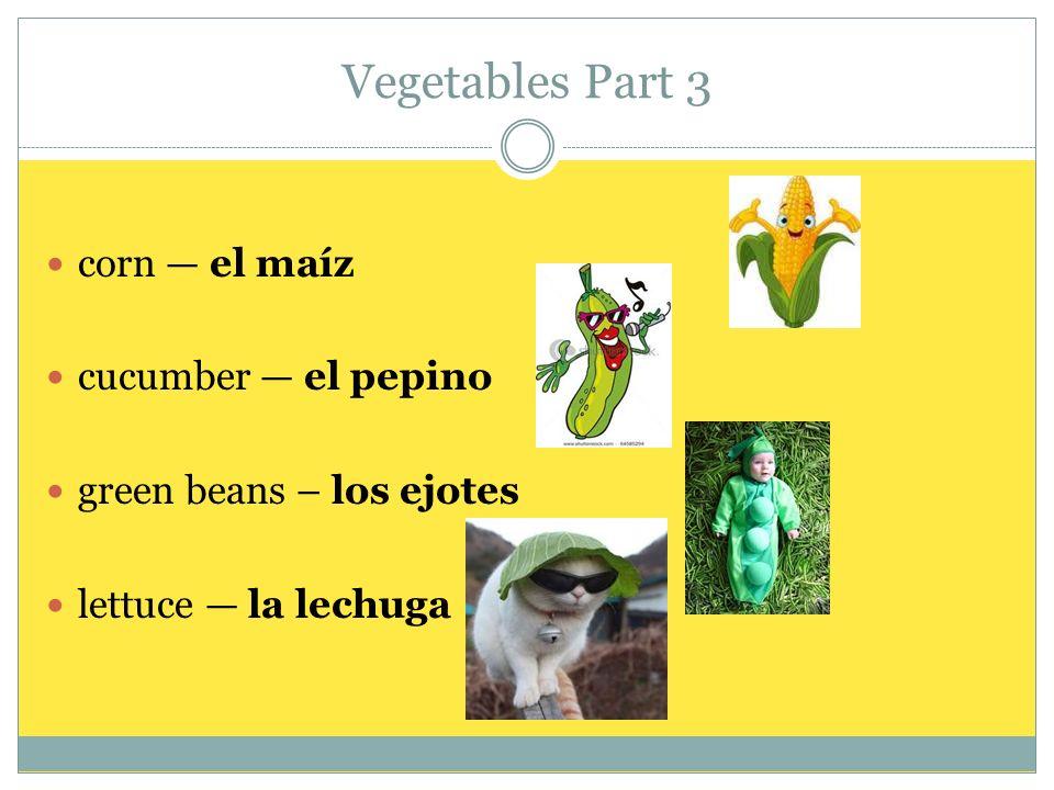 Vegetables Part 4 onion la cebolla potato la papa spinach las espinacas tomato el tomate