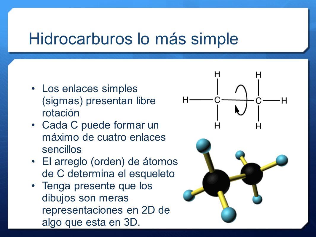 Hidrocarburos lo más simple Los enlaces simples (sigmas) presentan libre rotación Cada C puede formar un máximo de cuatro enlaces sencillos El arreglo