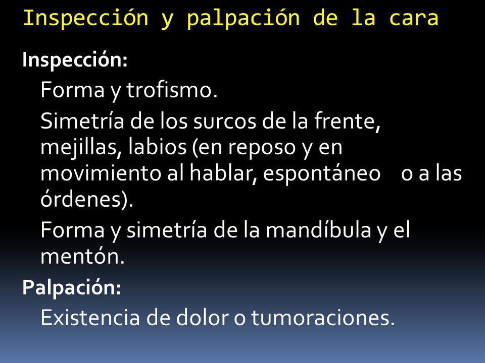 Inspección y palpación de la cara Inspección: Forma y trofismo. Simetría de los surcos de la frente, mejillas, labios (en reposo y en movimiento al ha