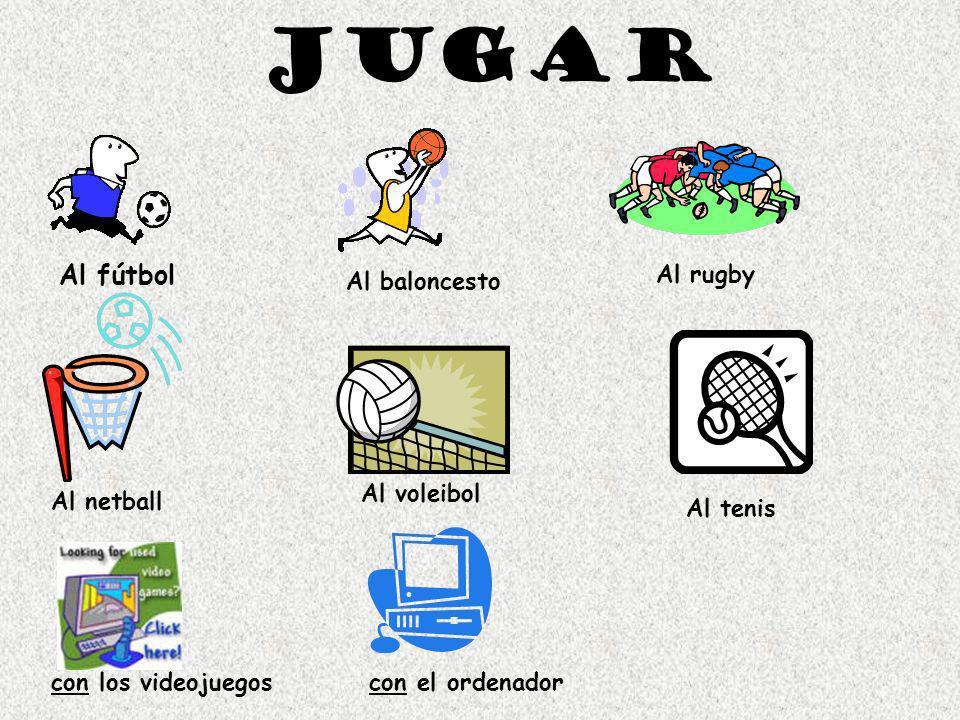 Jugar Al fútbol Al baloncesto Al rugby Al netball Al voleibol Al tenis con los videojuegoscon el ordenador