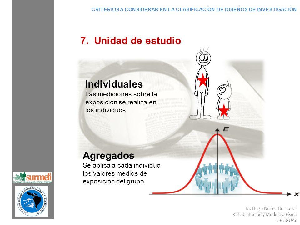 Dr. Hugo Núñez Bernadet Rehabilitación y Medicina Física URUGUAY 7. Unidad de estudio Individuales Las mediciones sobre la exposición se realiza en lo