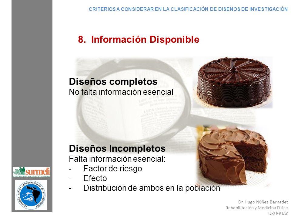 Dr. Hugo Núñez Bernadet Rehabilitación y Medicina Física URUGUAY 8. Información Disponible Diseños completos No falta información esencial Diseños Inc