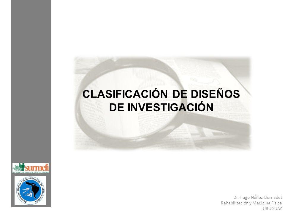 Dr. Hugo Núñez Bernadet Rehabilitación y Medicina Física URUGUAY CLASIFICACIÓN DE DISEÑOS DE INVESTIGACIÓN