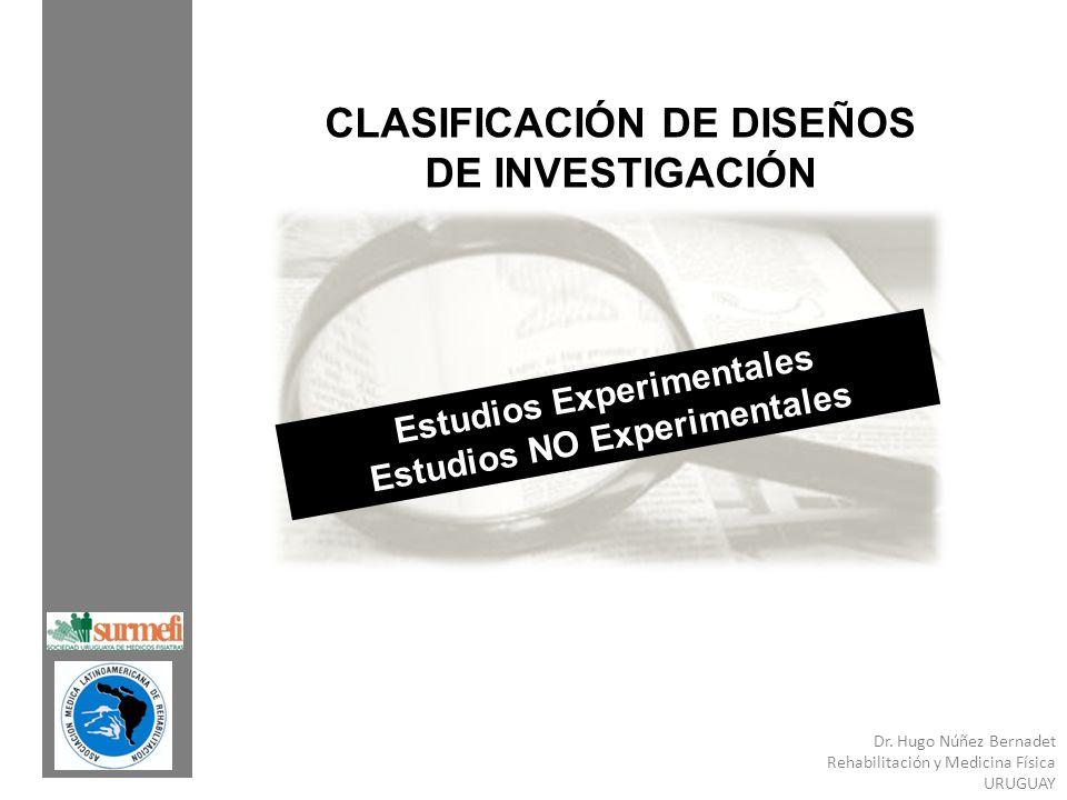 Dr. Hugo Núñez Bernadet Rehabilitación y Medicina Física URUGUAY CLASIFICACIÓN DE DISEÑOS DE INVESTIGACIÓN Estudios Experimentales Estudios NO Experim