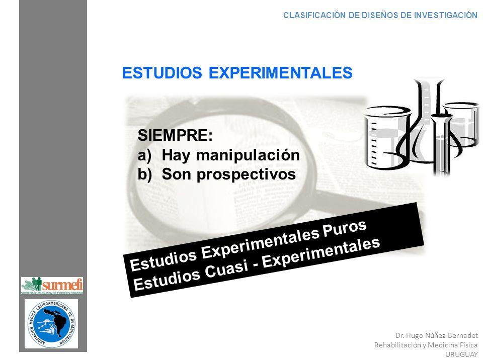 Dr. Hugo Núñez Bernadet Rehabilitación y Medicina Física URUGUAY CLASIFICACIÓN DE DISEÑOS DE INVESTIGACIÓN ESTUDIOS EXPERIMENTALES SIEMPRE: a)Hay mani