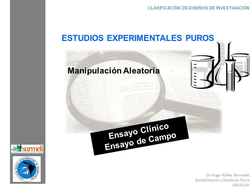 Dr. Hugo Núñez Bernadet Rehabilitación y Medicina Física URUGUAY CLASIFICACIÓN DE DISEÑOS DE INVESTIGACIÓN ESTUDIOS EXPERIMENTALES PUROS Manipulación