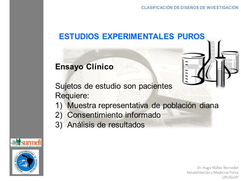 Dr. Hugo Núñez Bernadet Rehabilitación y Medicina Física URUGUAY CLASIFICACIÓN DE DISEÑOS DE INVESTIGACIÓN ESTUDIOS EXPERIMENTALES PUROS Ensayo Clínic