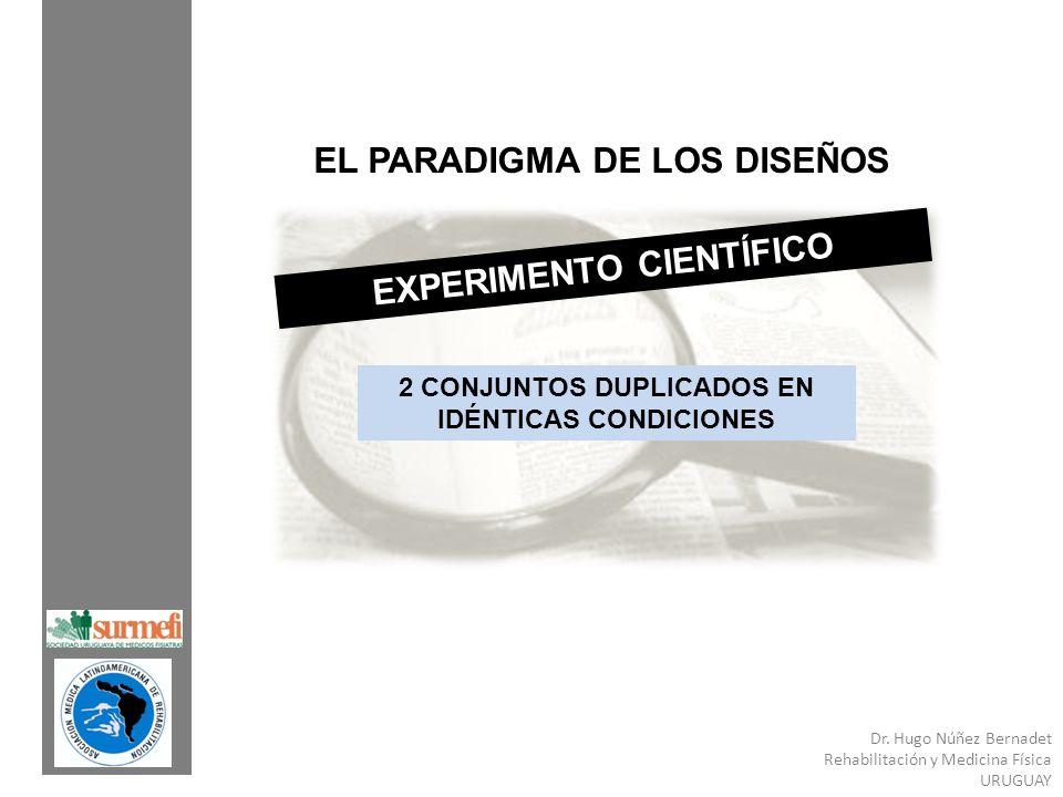 Dr. Hugo Núñez Bernadet Rehabilitación y Medicina Física URUGUAY EL PARADIGMA DE LOS DISEÑOS EXPERIMENTO CIENTÍFICO 2 CONJUNTOS DUPLICADOS EN IDÉNTICA