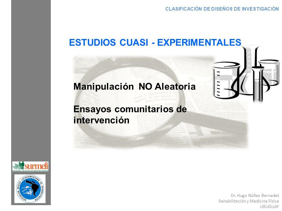 Dr. Hugo Núñez Bernadet Rehabilitación y Medicina Física URUGUAY CLASIFICACIÓN DE DISEÑOS DE INVESTIGACIÓN ESTUDIOS CUASI - EXPERIMENTALES Manipulació