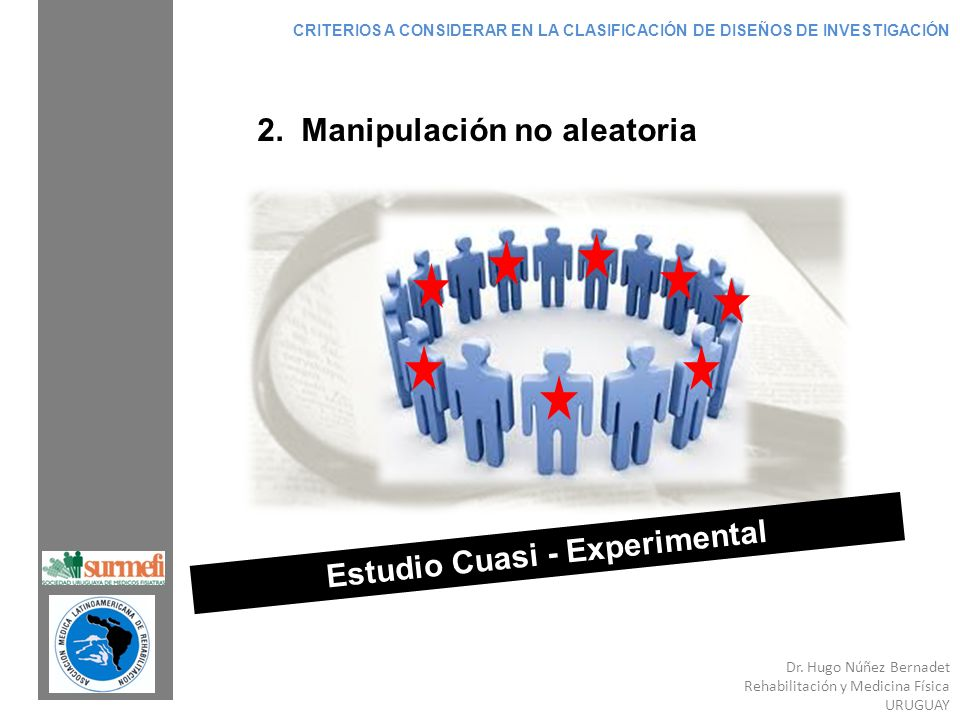 Dr. Hugo Núñez Bernadet Rehabilitación y Medicina Física URUGUAY Estudio Cuasi - Experimental 2. Manipulación no aleatoria CRITERIOS A CONSIDERAR EN L