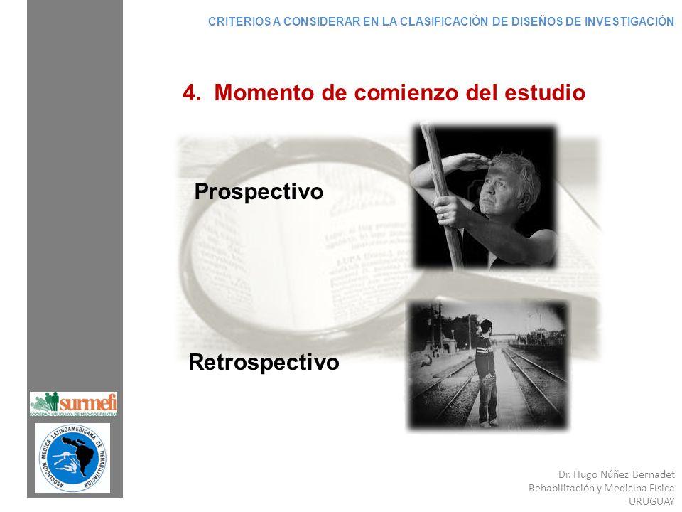 Dr. Hugo Núñez Bernadet Rehabilitación y Medicina Física URUGUAY 4. Momento de comienzo del estudio Prospectivo Retrospectivo CRITERIOS A CONSIDERAR E