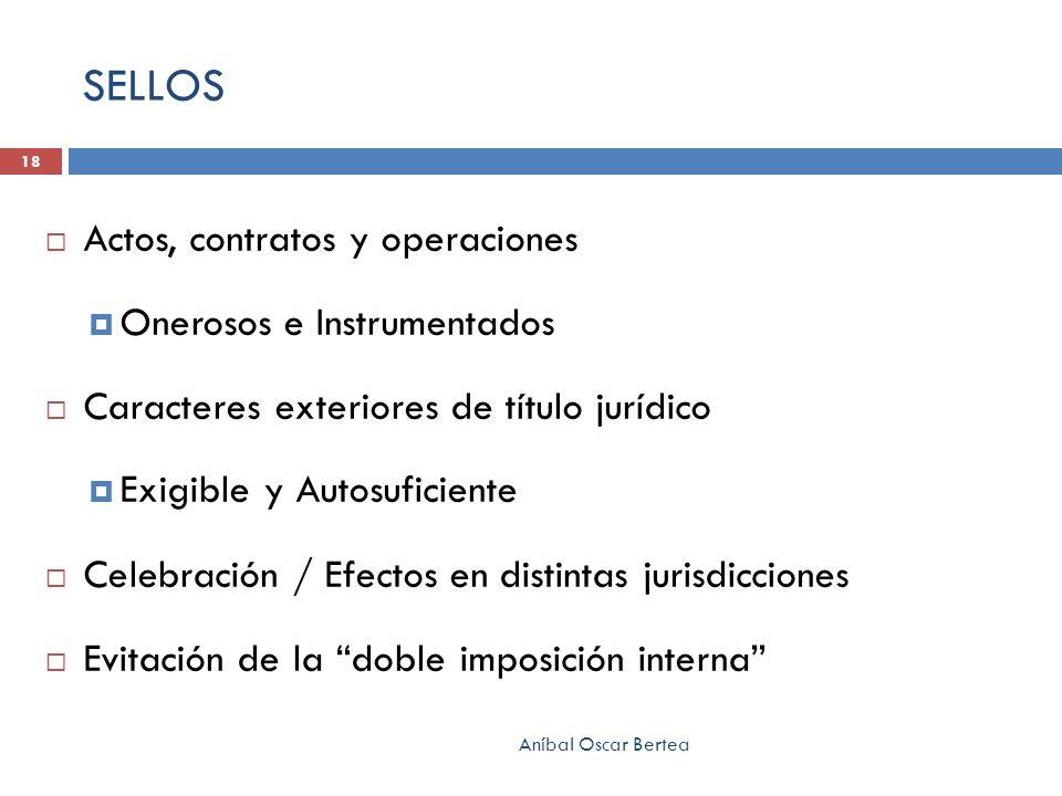 SELLOS Actos, contratos y operaciones Onerosos e Instrumentados Caracteres exteriores de título jurídico Exigible y Autosuficiente Celebración / Efect