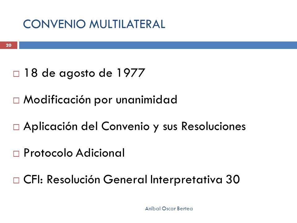 CONVENIO MULTILATERAL 18 de agosto de 1977 Modificación por unanimidad Aplicación del Convenio y sus Resoluciones Protocolo Adicional CFI: Resolución