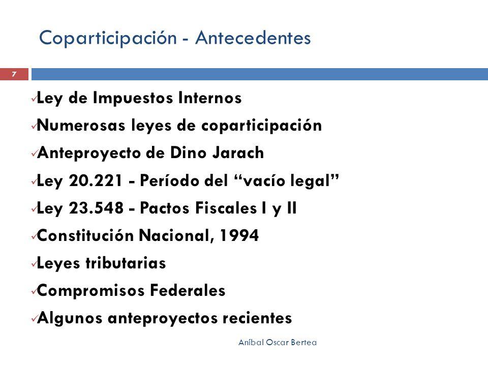 Coparticipación - Antecedentes Ley de Impuestos Internos Numerosas leyes de coparticipación Anteproyecto de Dino Jarach Ley 20.221 - Período del vacío