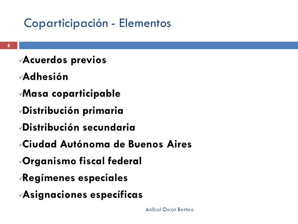Coparticipación - Elementos Acuerdos previos Adhesión Masa coparticipable Distribución primaria Distribución secundaria Ciudad Autónoma de Buenos Aire