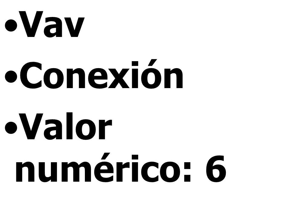 Vav Conexión Valor numérico: 6