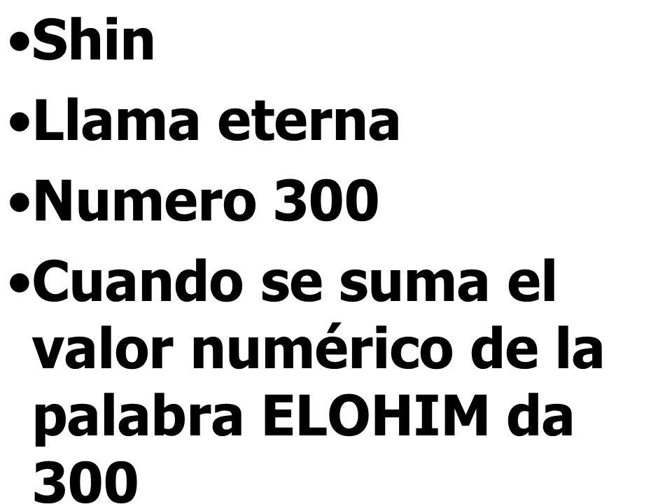 Shin Llama eterna Numero 300 Cuando se suma el valor numérico de la palabra ELOHIM da 300