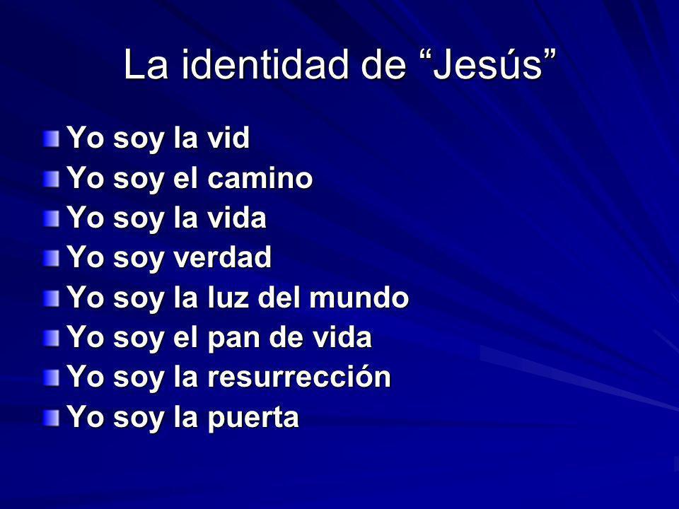 La identidad de Jesús Yo soy la vid Yo soy el camino Yo soy la vida Yo soy verdad Yo soy la luz del mundo Yo soy el pan de vida Yo soy la resurrección