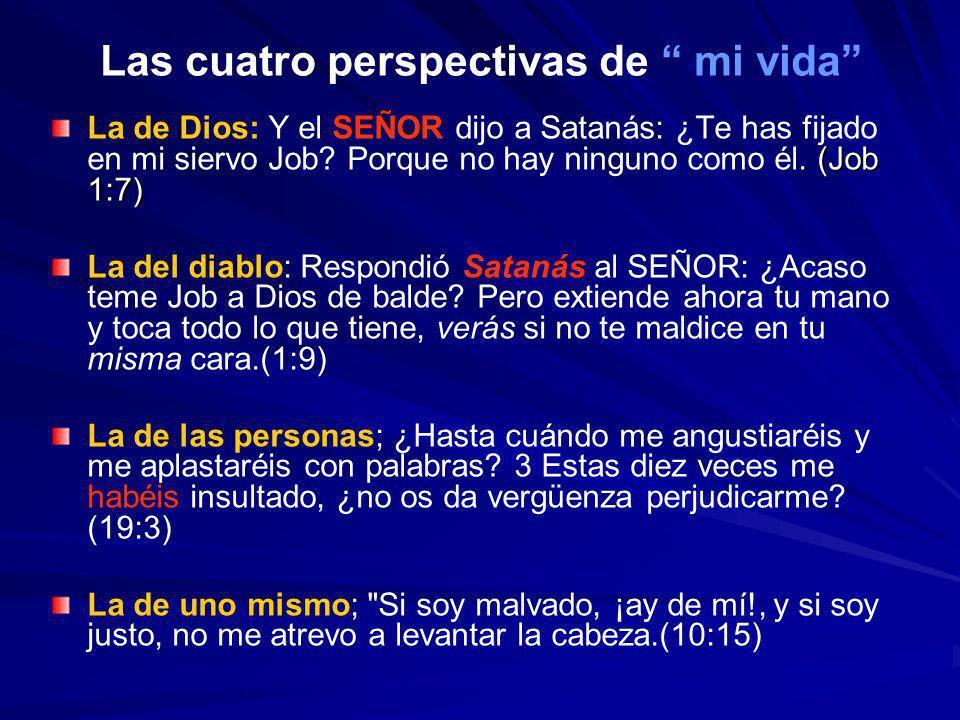 Las cuatro perspectivas de mi vida. (Job 1:7) La de Dios: Y el SEÑOR dijo a Satanás: ¿Te has fijado en mi siervo Job? Porque no hay ninguno como él. (