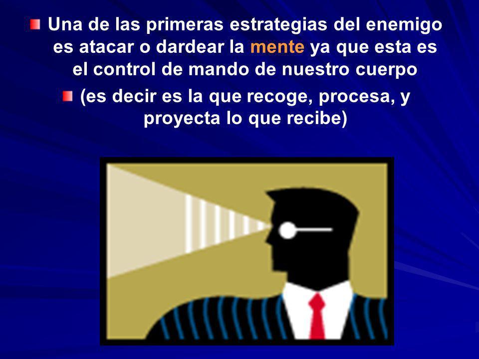 Una de las primeras estrategias del enemigo es atacar o dardear la mente ya que esta es el control de mando de nuestro cuerpo (es decir es la que reco