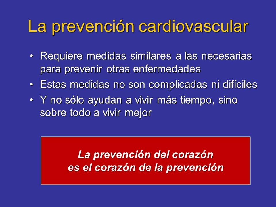 La prevención cardiovascular Requiere medidas similares a las necesarias para prevenir otras enfermedadesRequiere medidas similares a las necesarias p
