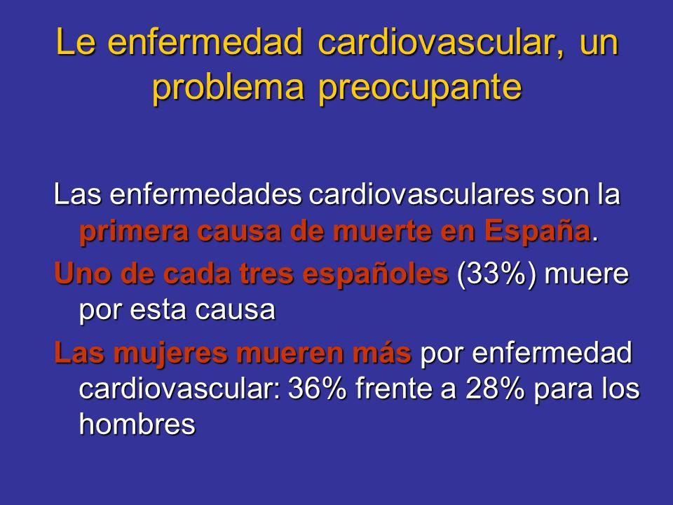 Le enfermedad cardiovascular, un problema preocupante Las enfermedades cardiovasculares son la primera causa de muerte en España. Uno de cada tres esp