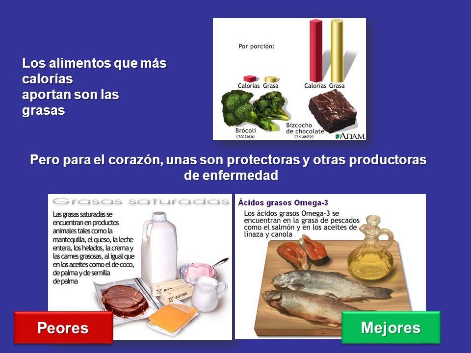 Los alimentos que más calorías aportan son las grasas Pero para el corazón, unas son protectoras y otras productoras de enfermedad PeoresPeores Mejore
