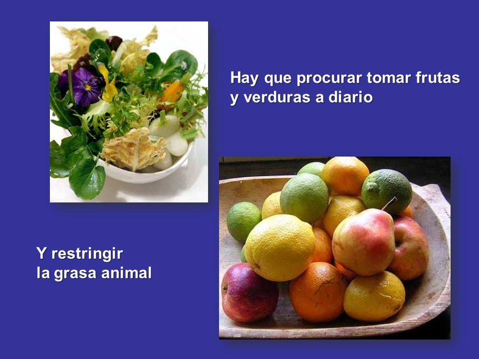 Hay que procurar tomar frutas y verduras a diario Y restringir la grasa animal