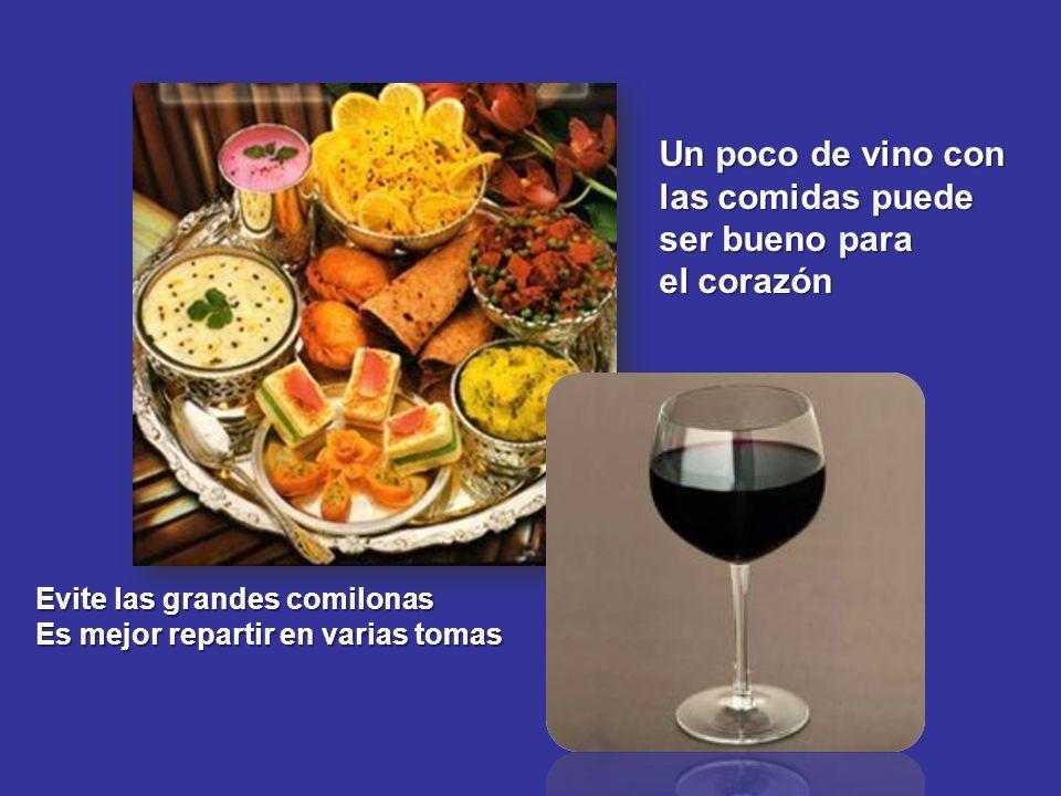 Evite las grandes comilonas Es mejor repartir en varias tomas Un poco de vino con las comidas puede ser bueno para el corazón