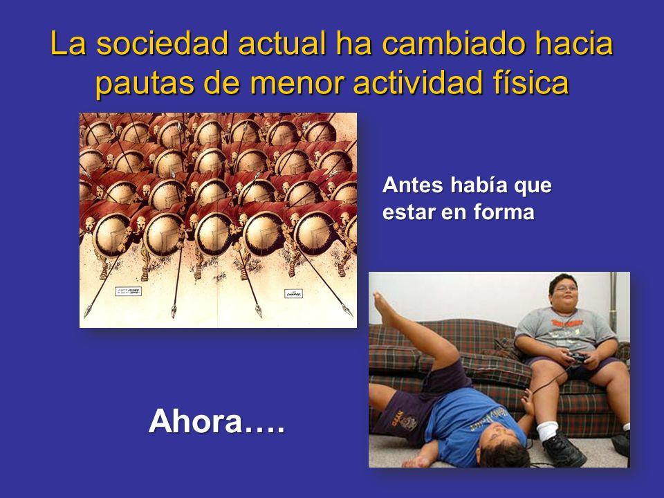 La sociedad actual ha cambiado hacia pautas de menor actividad física Antes había que estar en forma Ahora….