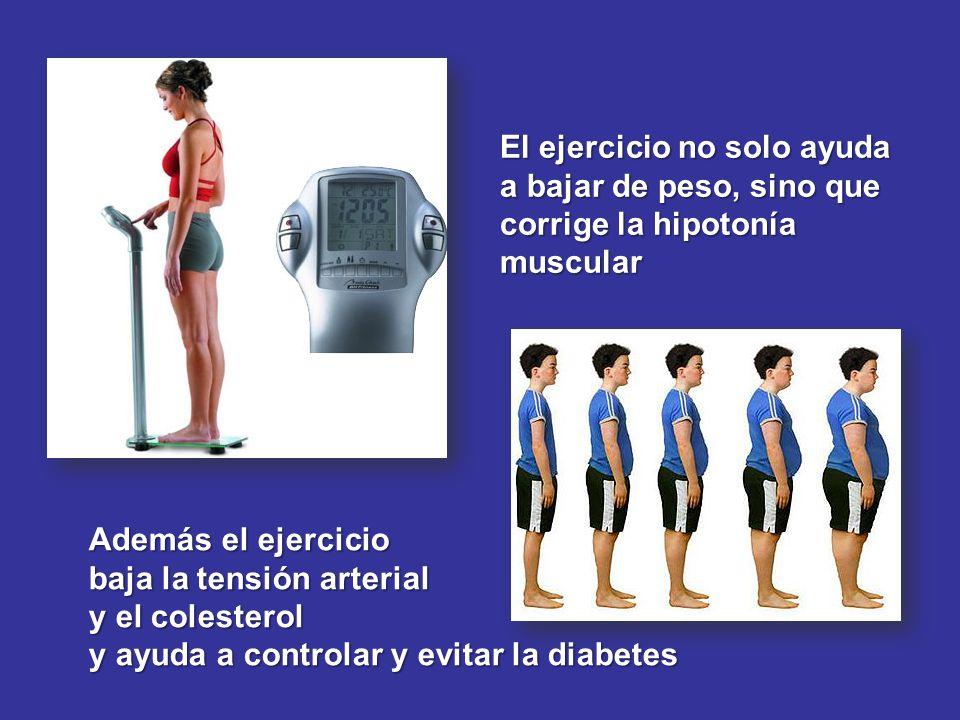 El ejercicio no solo ayuda a bajar de peso, sino que corrige la hipotonía muscular Además el ejercicio baja la tensión arterial y el colesterol y ayud