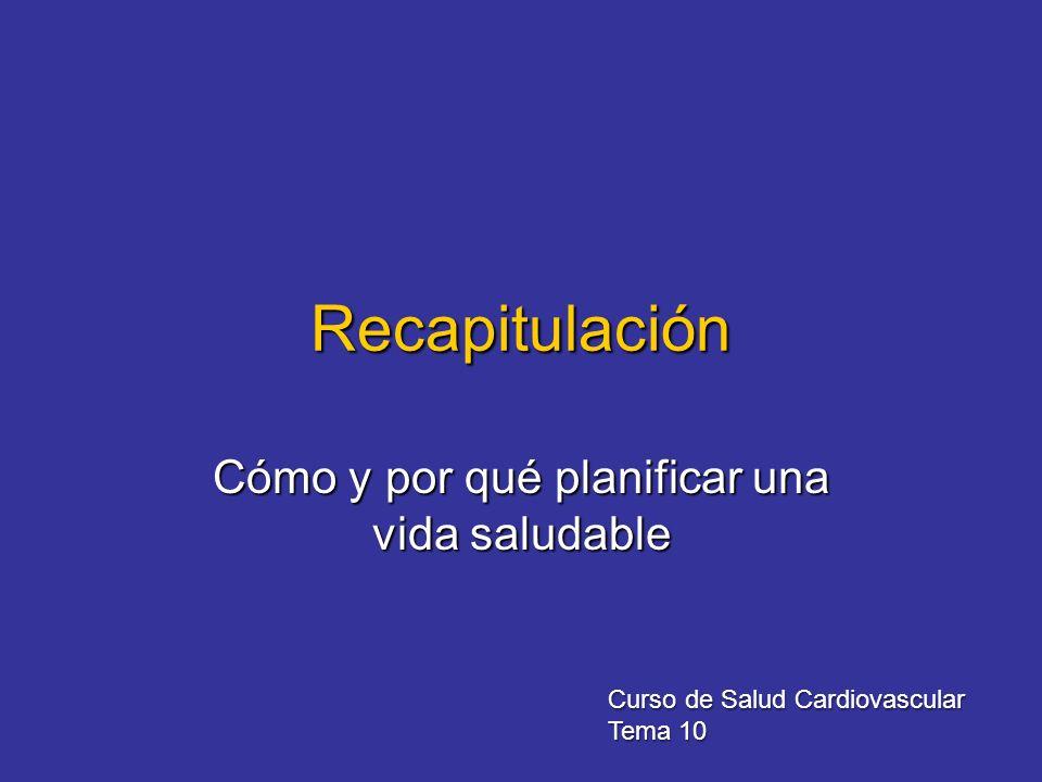 Recapitulación Cómo y por qué planificar una vida saludable Curso de Salud Cardiovascular Tema 10