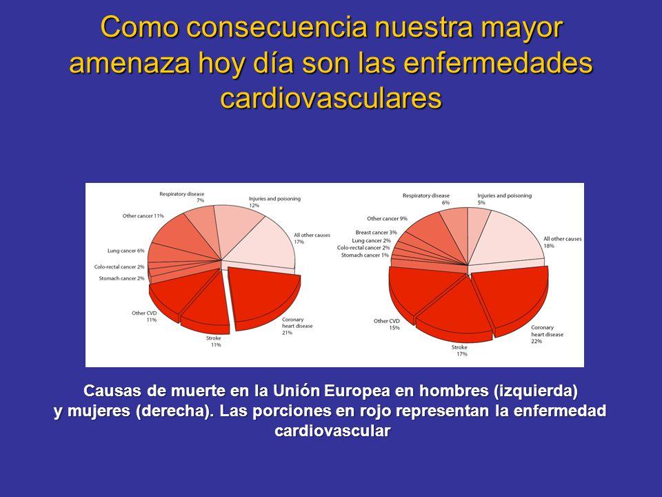 Como consecuencia nuestra mayor amenaza hoy día son las enfermedades cardiovasculares Causas de muerte en la Unión Europea en hombres (izquierda) y mujeres (derecha).