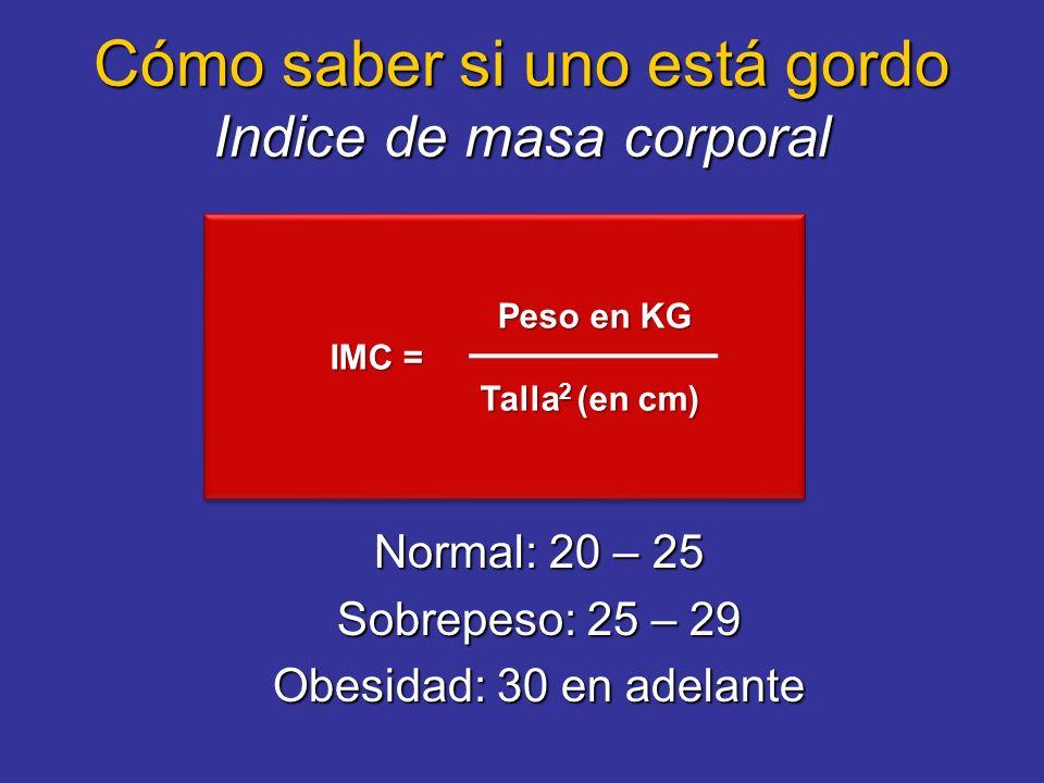También se puede medir el perimetro abdominal Deseable: <102 cm hombres <88 cm mujeres