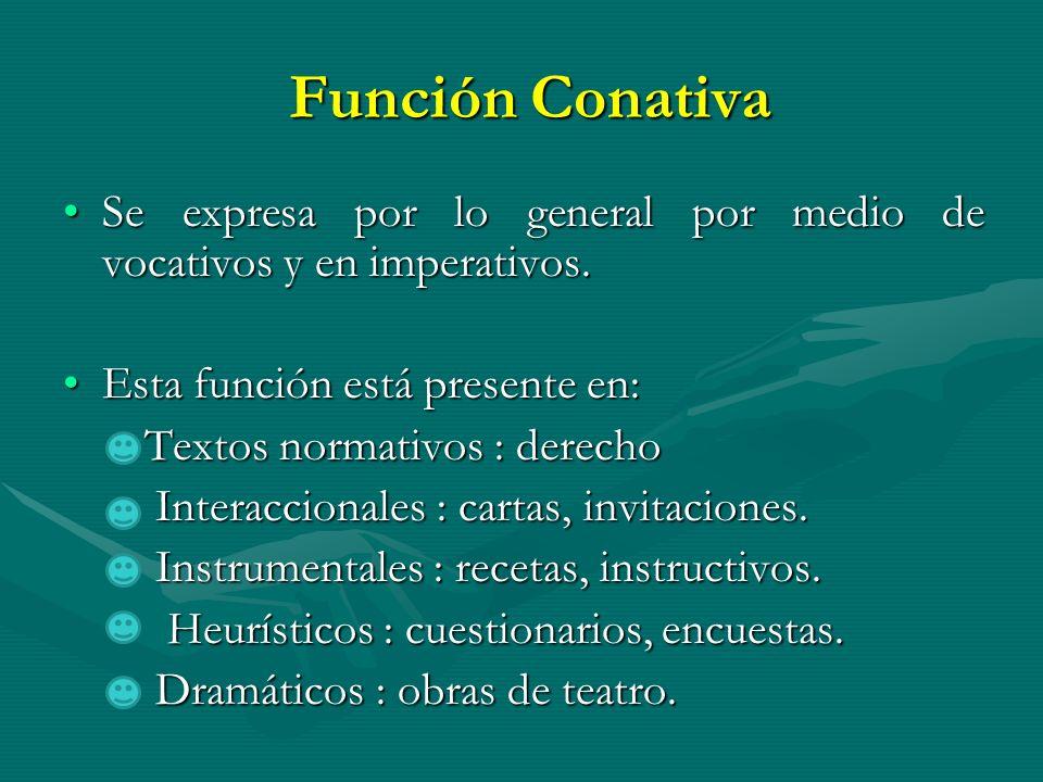 Función Conativa Función Conativa Se expresa por lo general por medio de vocativos y en imperativos.Se expresa por lo general por medio de vocativos y