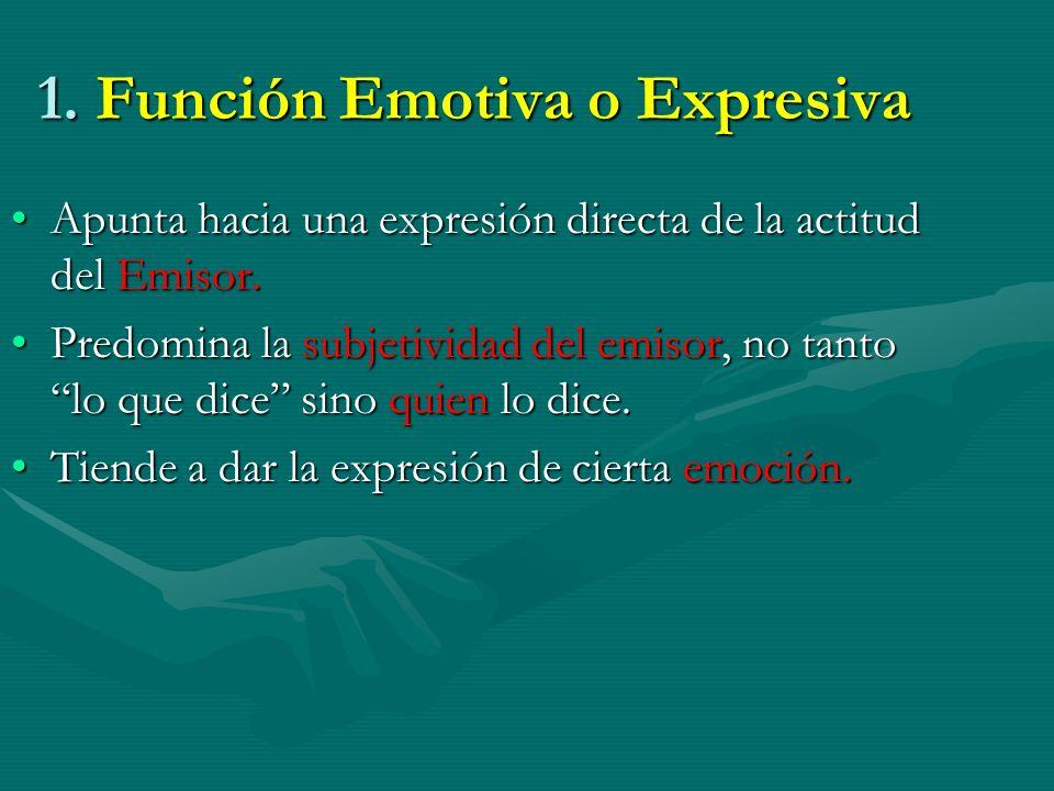 1. Función Emotiva o Expresiva Apunta hacia una expresión directa de la actitud del Emisor.Apunta hacia una expresión directa de la actitud del Emisor